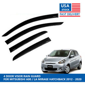 4DR VISOR RAIN GUARD FOR MITSUBISHI A00 / LA MIRAGE HATCHBACK 2012 - 2020