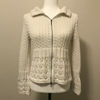 CAbi Long Sleeve Zip Up Sweater Womens Size Large 100% Cotton White Crochet