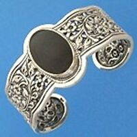 "B265 Sterling Silver Black Onyx Bali Cuff Bangle Wide Bracelet 6"" New Solid 925"