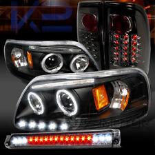 97-03 F150 Black Halo LED Projector Headlights+Smoke LED Tail Lamp+LED 3rd Brake