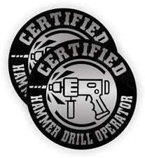 (2) Hammer Drill Operator Hard Hat Stickers ~ Funny Decals Safety Helmet Laborer