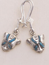 Sekhmet .925 Silver Earrings (inlaid with Turquoise) (Hallmarked)