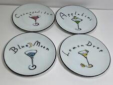 "Pottery Barn Ceramic Small Cocktail Plates Set of 4 ""Martini"""
