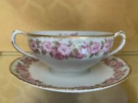 (2)Haviland Limoges GDA France CH Field  Two Handle Cream Soups Pink Rose Gold