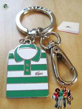 New Authentic LACOSTE POLO SHIRT  KEY RING KEY FOB BAG CHARM Enamel Nikel Green