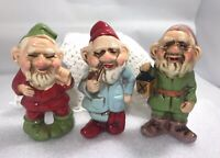 Vintage Japan Ceramic Gnomes Red Blue Green Pipe Lantern Elves Boots Figurines