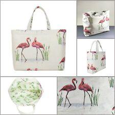 Flamingo Tote Bag with handle, Handmade Linen Bag, Bag for women