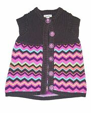 Savannah girls SIZE 4T brown sleeveless sweater vest - button up rainbow buttons