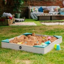 NEW Plum Play Colours by Plum Wooden Sandpit Teal   Kids Outdoor Sandbox