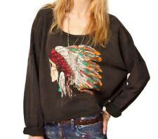 Denim Supply Ralph Lauren Southwest Sweatshirt Skull Feather Pullover Black L
