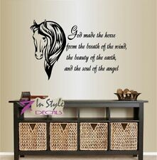 Vinyl Decal God Made the Horse from... Quote Stallion Animal Wall  Sticker 128
