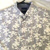 TOMMY BAHAMA SILK COTTON  FLORAL HAWAIIAN CAMP SHIRT Gray White Flowers L