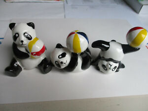 PANDA Bär mit Ball, Porzellan, Set,3 Stück, PANDA bear with ball, porcelain, !!!