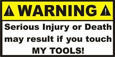 Toolbox Warning sticker decal sign stocking stuffer garage tool funny gag gift