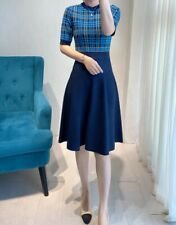 AUTH Ted Baker NILAR Checked Knitted Fit & Flare Skater Dress BLUE