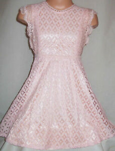 GIRLS VINTAGE STYLE PINK LACE FRILLY TRIM SPECIAL OCCASION PARTY DRESS age 8-9
