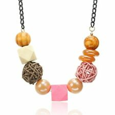 Acrylic Wooden Necklace Beaded Stylish Jewelry Women's Charm Statement Pendant