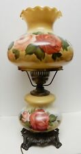 Vintage Hurricane Table Lamp Hand Painted Floral Electric Antique Brass 21""