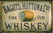 Bagots Whiskey embossed steel sign 300mm x 200mm (hi)