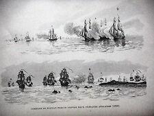 GRAVURE ANCIENNE 19e - COMBATS DE DUGUAY-TROUIN CONTRE DEUX FREGATES ANGLAISES