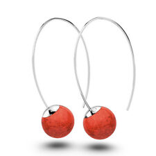SOLID STERLING SILVER 925 ROUND RED CORAL DANGLE EARRINGS VE493B