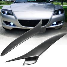 Real Carbon Fiber Headlight Eyebrows Eyelids Trim For Mazda RX 8 RX8 2004-08 US