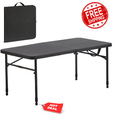 "40"" Folding 4-Seat Table Adjustable Height Fold-in-Half Storage w/ Carry Handle"