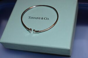 TIFFANY & Co T Wire 18K White Gold Bracelet 1.9 mm Wide 6 Gm Retail $2150+