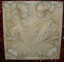 Poppy wall stone relief backsplash tile Plaque art sculpture home kitchen art