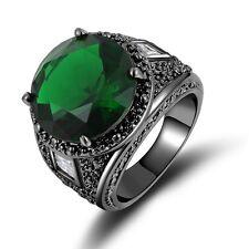 Fashion Size 8 Mens Rare Emerald 18K Black Gold Filled Engagemt Wedding Ring