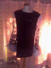 Drag Queen Black velour silver glitter SHORT dress  black/silver  sleeves 20/22