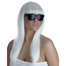 Blanco Largo Damas Diva Pop Peluca y Gafas de Sol-Gafas Estilo Lady Gaga Fancy