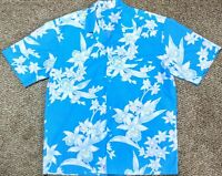Royal Creations Men's Blue & White Floral Hawaiian Shirt Made in Hawaii Size L