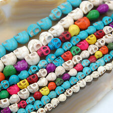"""Howlite Turquoise Carved Skull Loose Spacer Beads 16"""" Pick"""