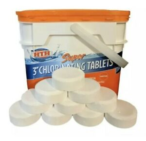 10 Pack HTH Super 3 inch Chlorine Tablets for Pool, 5lbs NO TUB