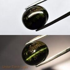 12.52ct 14.5x12mm Oval Cab Natural Deep Yellowish Green Cat's Eye Tourmaline