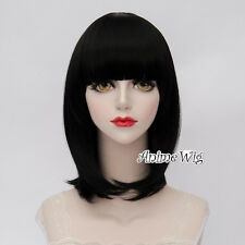 Lolita Black Short 40CM Bob Fashion Party Women Cosplay Wig with Bangs + Wig Cap