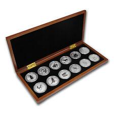 1999-2010 Australia 12-Coin 1 oz Silver Lunar Set (SI, Wood Box) - SKU #67641