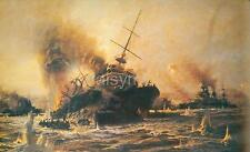 Sinking of Battleship Bouvet Dardanelles Turkey World War 1, Print 12x7 Inch