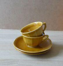 2 tasses à café + soucoupes en céramique ancienne * Digoin Sarguemines * 1920 *