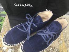 CHANEL en Daim Bleu Marine Haut Top espadrilles taille 4 (37) & Poussière Sacs