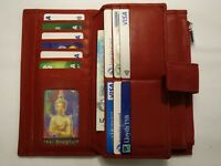 Leather Purse Wallet Organiser Extra Large with Many Features Top Brand Red RFID
