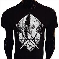 Undead Spartan T-Shirt Mens Greek Roman Knight Swords Skull Medieval Warrior