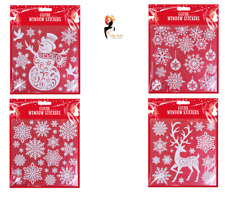 CHRISTMAS GLITTER WINDOW STICKERS Snowflakes Decoration Clings Reusable White UK