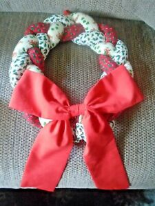 "Handmade Christmas Wreath 12""Diameter Red, White, Green Christmas fabric bow"