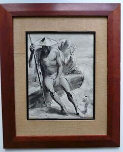 Ink/ink wash figural painting 1949, Daniel Rasmusson (1913-  ), WPA