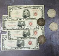 (3) $5.00 Red Seal & (1) 1921 MORGAN 90 % SILVER DOLLAR
