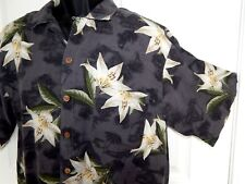 TOMMY BAHAMA Island Shores Hawaiian Floral  S/S Silk Camp Shirt Large