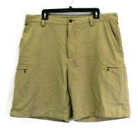 IZOD Perform X XFG Golf Men's 38 Mesh Lined Waist Multi-Pockets Shorts Khaki
