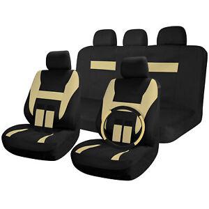 Car Seat Covers Black / Beige Tan 17pc Full Set w/Steering Wheel Cover/Belt Pads